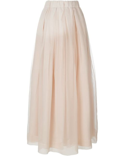 brunello cucinelli a line maxi skirt in beige