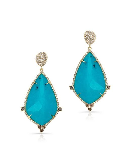 Anne Sisteron | Blue 14kt Yellow Gold Turquoise And White Topaz Diamond Leaf Earrings | Lyst