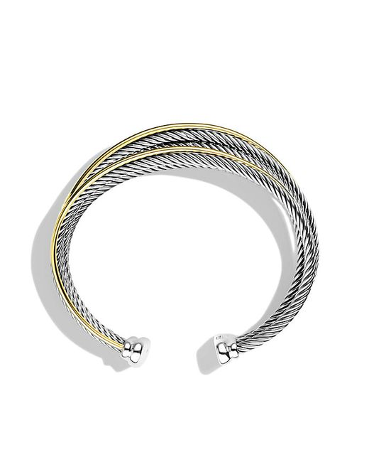 David Yurman | Metallic Crossover Four-row Cuff Bracelet With Gold | Lyst