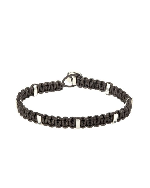 Zadeh | Gray Silver Cross  Macramé Cord Bracelet for Men | Lyst