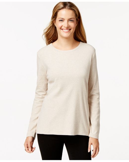 Style & Co. | Natural Crew-neck Top, Only At Macy's | Lyst