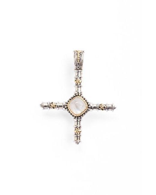 Konstantino | Metallic 'erato' Stone Cross Pendant | Lyst