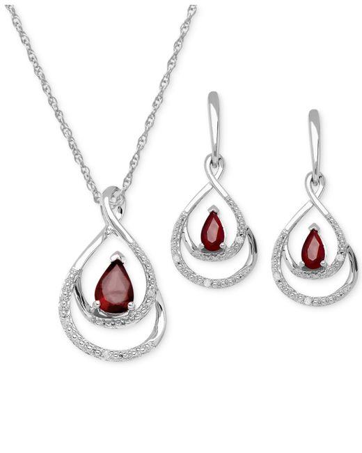 Macy's | Metallic Ruby ( 1-1/8ct. T.w.) And Diamond Accent Pendant And Earring Set In Sterling Silver | Lyst