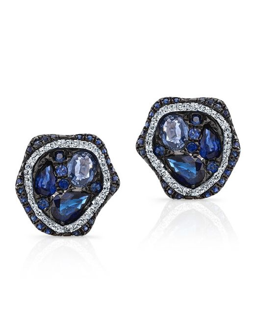 Anne Sisteron | 14kt White Gold Blue Sapphire Diamond Cluster Stud Earrings | Lyst