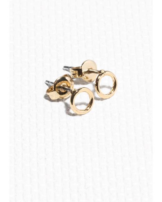 & Other Stories | Metallic Tiny Hoop Studs | Lyst