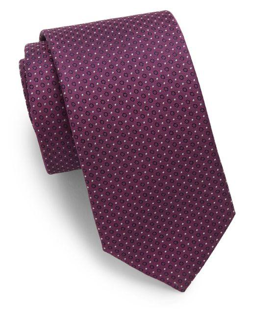 Saks Fifth Avenue | Purple Neat Pattern Silk Tie for Men | Lyst