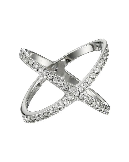 Michael Kors | Metallic Brilliance Pave X Ring | Lyst