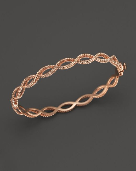 Roberto Coin | Pink 18k Rose Gold Single Row Twisted Bangle | Lyst