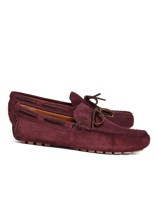 Brooks Brothers | Red Suede Tie Driving Moccasins for Men | Lyst