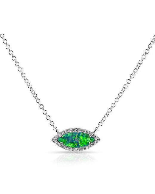 Anne Sisteron | Metallic 14kt White Gold Opal Diamond Mini Marquis Necklace | Lyst