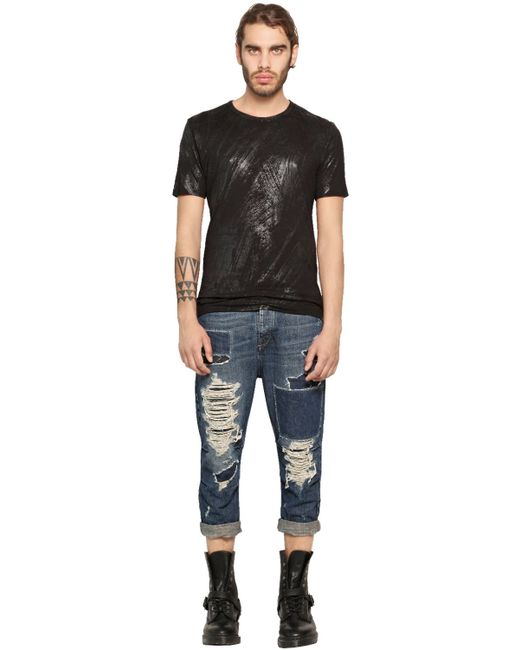 Black Gold  Blue 17cm Carrot Fit Destroyed Denim Jeans for Men  Lyst