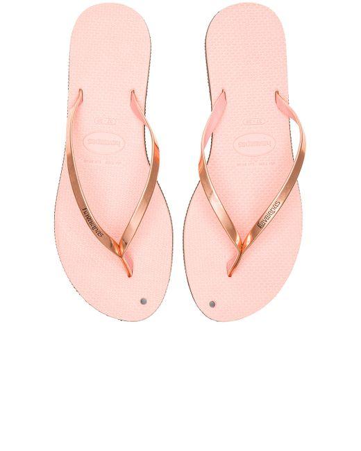 Havaianas You Metallic Flip Flop In Pink Light Pink  Lyst-6259