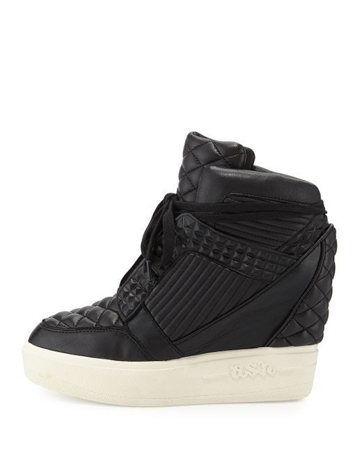ash azimut high top wedge sneaker in white black lyst. Black Bedroom Furniture Sets. Home Design Ideas
