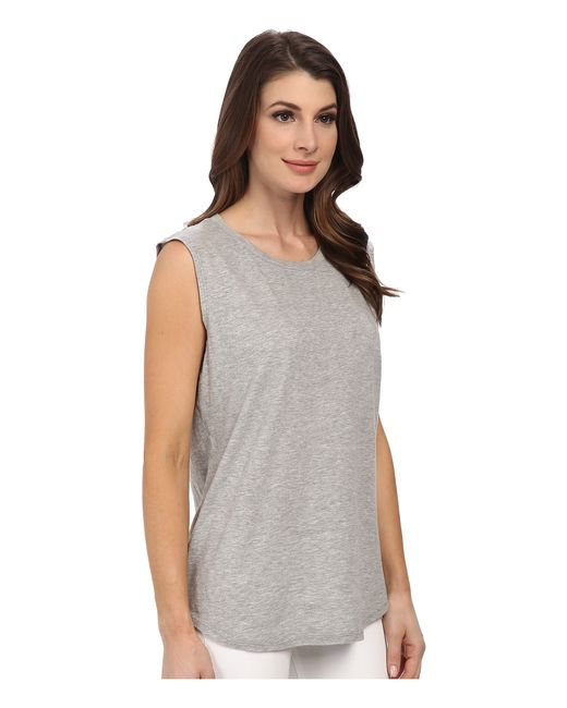 Michael stars hi low muscle tank top in gray lyst for Michael stars t shirts on sale