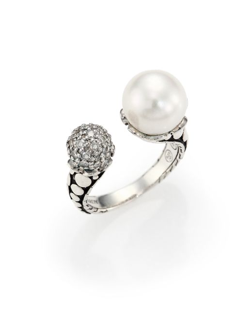 John Hardy | Metallic Dot 11mm White Pearl, Diamond & Sterling Silver Wrap Ring | Lyst