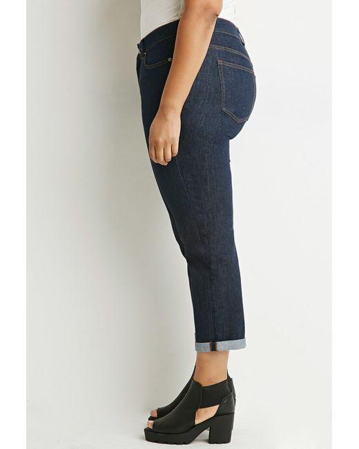 Forever 21 | Blue Plus Size Classic Boyfriend Jeans | Lyst