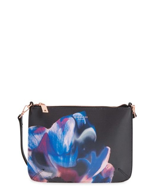 Ted Baker U0026#39;cosmic Bloomu0026#39; Floral Print Leather Crossbody Bag In Multicolor (BLACK) | Lyst