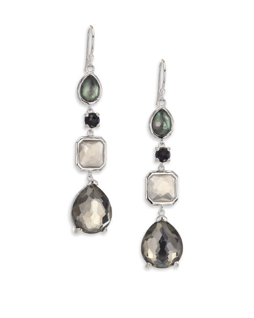Ippolita | Metallic Rock Candy Black Tie Semi-precious Multi-stone & Sterling Silver Mixed Linear Drop Earrings | Lyst