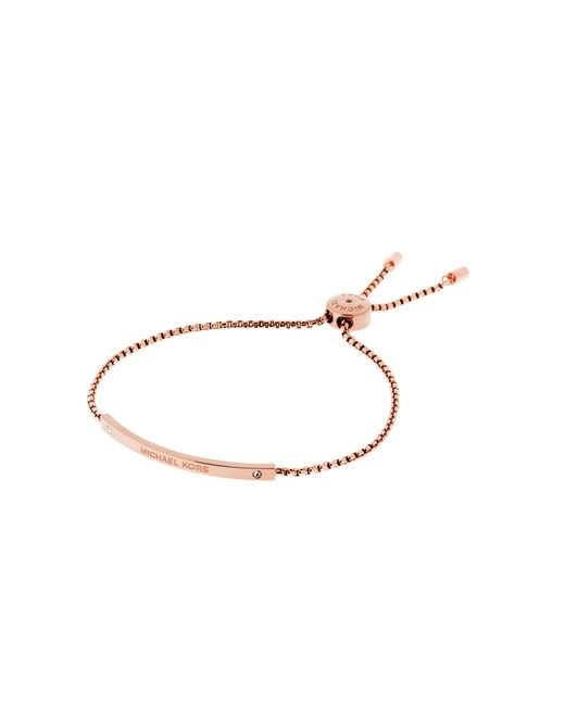 Michael Kors   Pink Logo Rose Gold-tone Slider Bracelet   Lyst