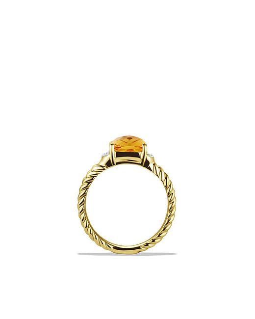 David Yurman | Yellow Petite Wheaton Ring With Citrine And Diamonds In 18k Gold | Lyst