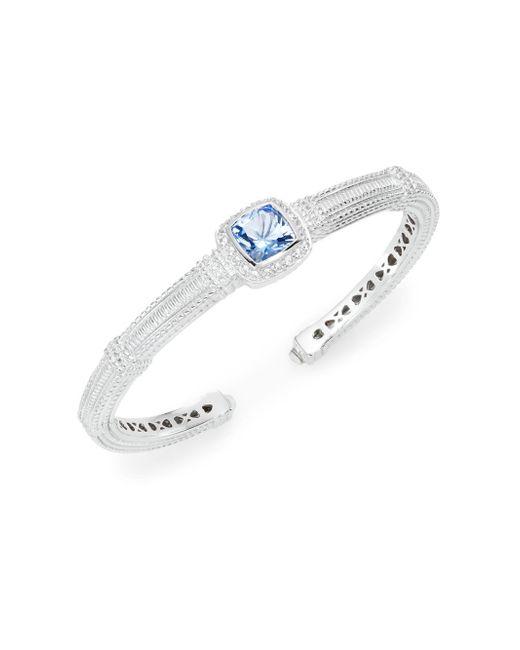 Judith Ripka | Metallic Classic Blue Quartz, White Sapphire & Sterling Silver Bangle Bracelet | Lyst