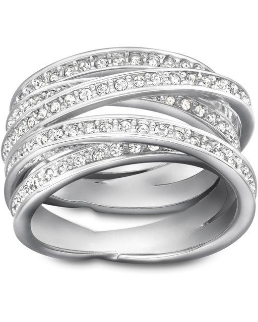 Swarovski | Metallic Spiral Crystal And Silvertone Ring Size 8 | Lyst