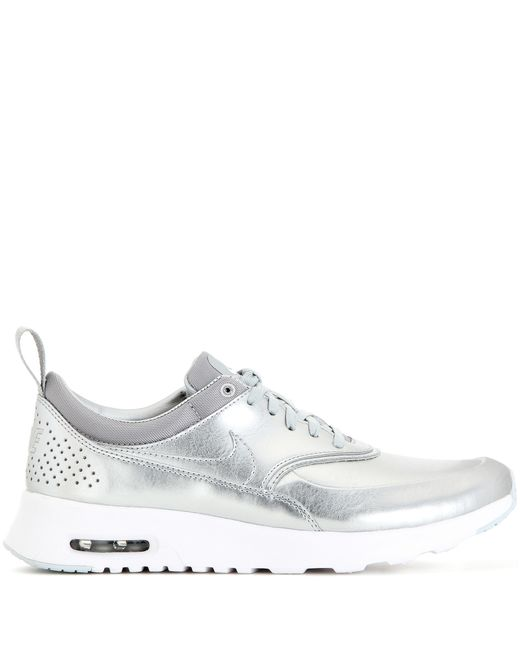 nike air max thea metallic silver sneakers in silver lyst. Black Bedroom Furniture Sets. Home Design Ideas