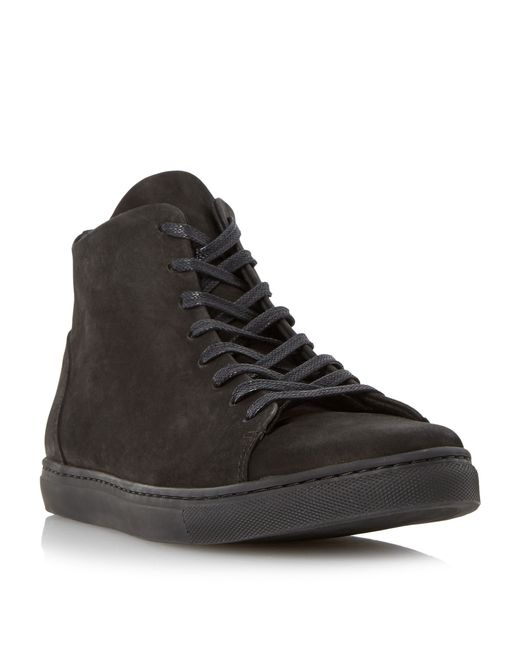 Dune | Black Sawyer High Top Nubuck Trainer for Men | Lyst