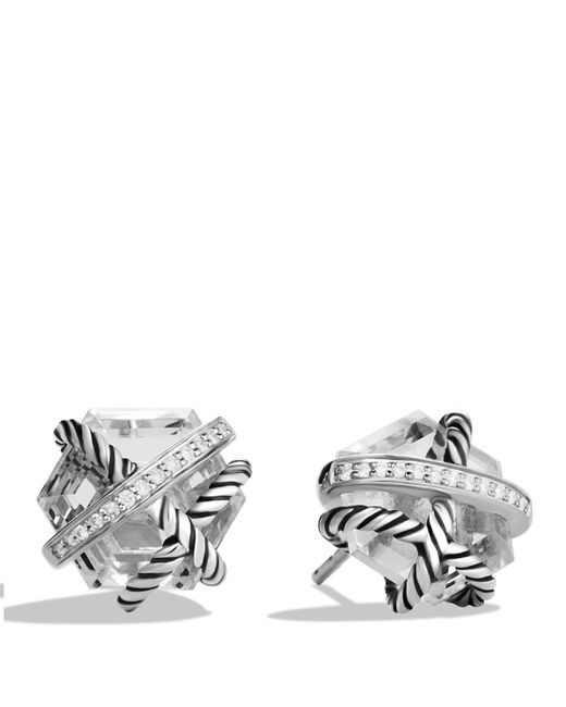 David Yurman | Metallic Cable Wrap Earrings With Crystal And Diamonds | Lyst