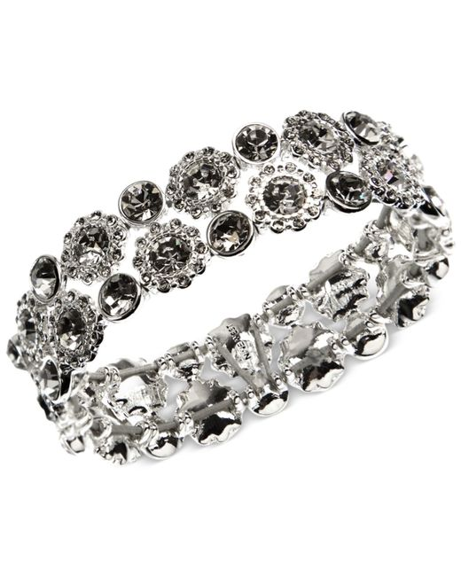 Nine West | Metallic Silver-tone Crystal Stretch Bracelet | Lyst