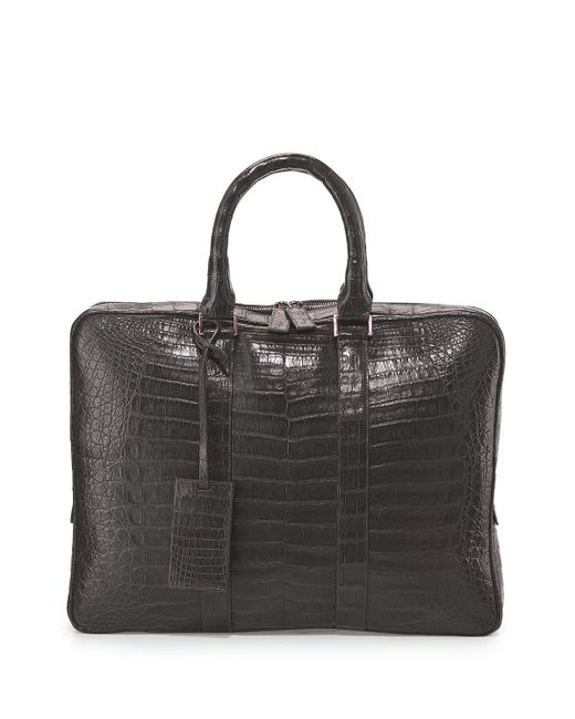 Santiago Gonzalez | Gray Crocodile Compartment Skinny Briefcase for Men | Lyst