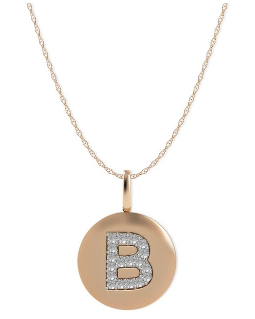 Macy's | Metallic 14k Rose Gold Necklace, Diamond Accent Letter B Disk Pendant | Lyst