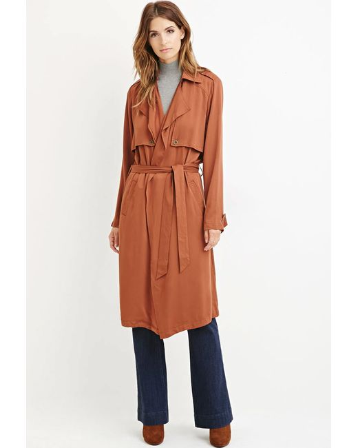 Forever 21 | Brown Life In Progress Open-front Trench Coat | Lyst