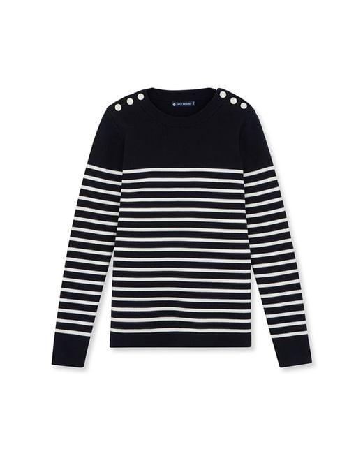Petit Bateau | White Women's Striped Sailor Sweater | Lyst