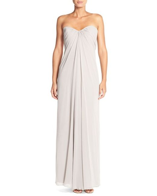Dessy Collection   Brown Sweetheart Neck Strapless Chiffon Gown   Lyst