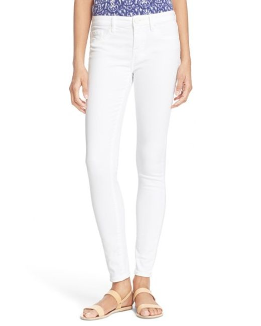 joie stretch denim skinny jeans in white lyst. Black Bedroom Furniture Sets. Home Design Ideas