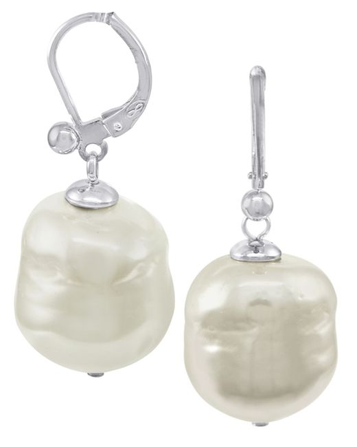 Majorica | White Sterling Silver Baroque Organic Man-made Pearl Drop | Lyst
