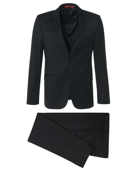 HUGO | Slim-fit Suit In The Finest New Wool In Superblack Or Supernavy Fabric: 'aeron2/hamen2' for Men | Lyst