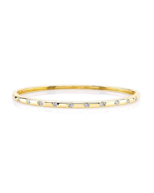 Anne Sisteron | Metallic 14kt Yellow Gold Sparkle Half Diamond Bangle Bracelet | Lyst