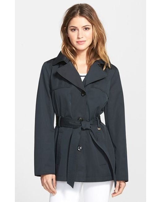Ellen Tracy | Black Cotton Blend Short Trench Coat | Lyst