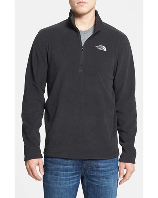 The North Face | Black 'tka 100 Glacier' Quarter Zip Fleece Pullover for Men | Lyst