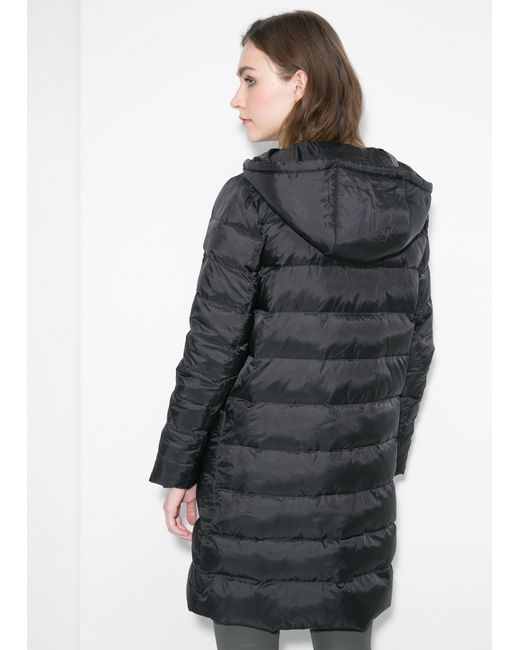 Mango Feather Down Long Coat in Black | Lyst