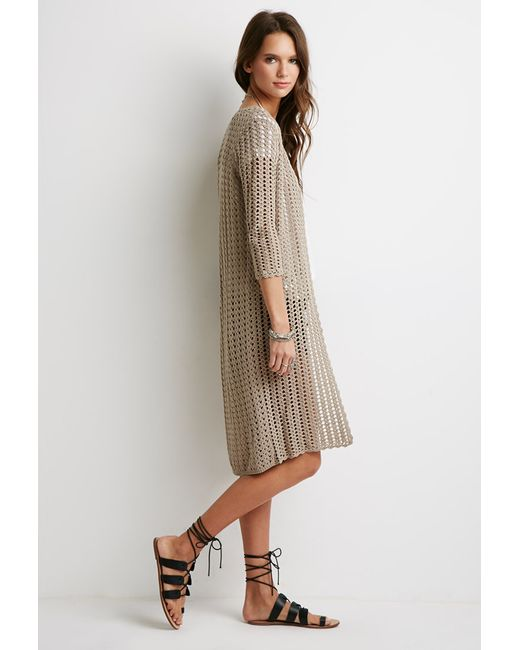 Forever 21   Brown Longline Open-knit Cardigan   Lyst