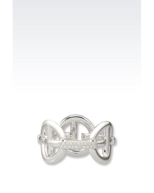 Emporio Armani | Metallic Ring In Sterling Silver | Lyst