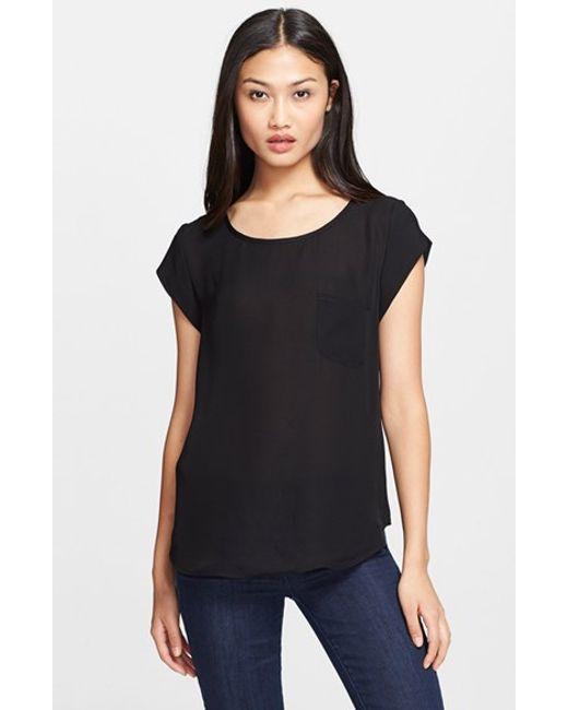 Joie | Black 'rancher' Silk Pocket Top | Lyst