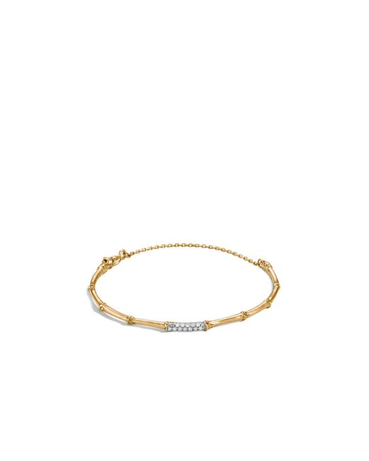 John Hardy | Metallic Bamboo 18k Yellow Gold Diamond Pave Slim Bracelet | Lyst