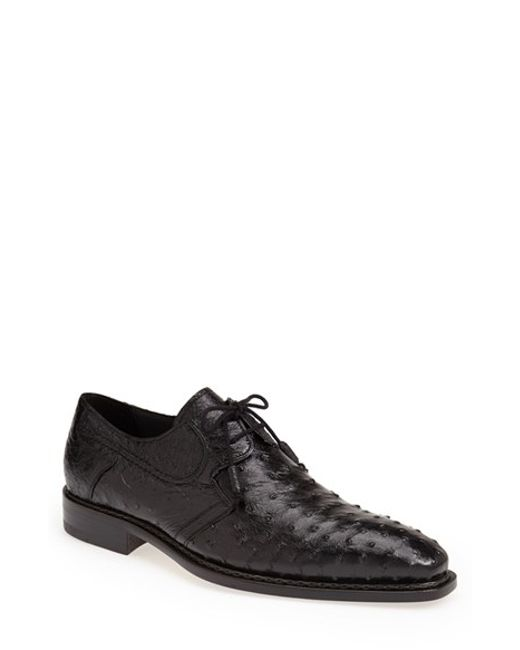 Mezlan | Black 'romano' Ostrich Plain Toe Derby for Men | Lyst