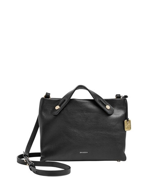 Skagen | Black 'Mini Mikkeline' Leather Satchel | Lyst
