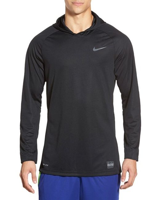 Nike 39 elite shooter dri fit 39 long sleeve hooded for Boys long sleeve shirt with hood