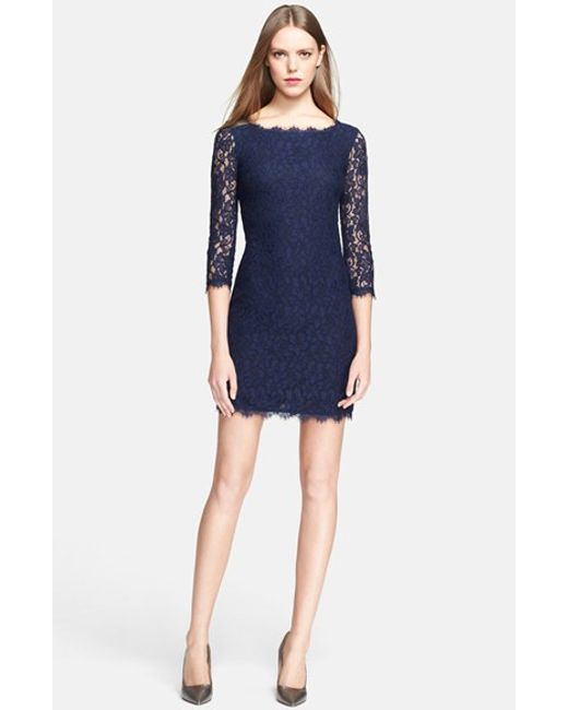 Diane von Furstenberg | Blue 'zarita' Lace Sheath Dress | Lyst
